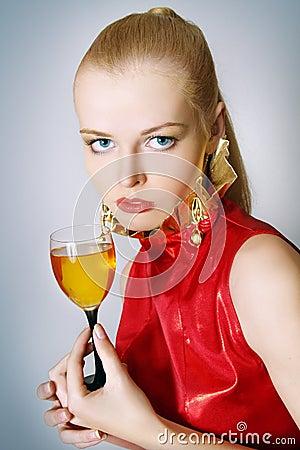 Beautiful  women with glass wine