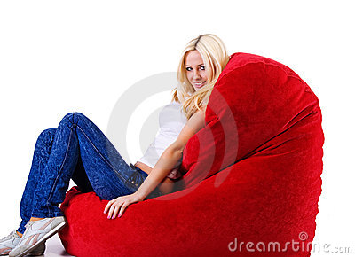 Beautiful women on the  heart shape armchair