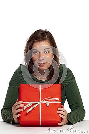 Beautiful women holding red gift box