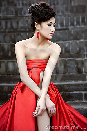 Beautiful women with red cloth