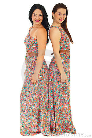 Beautiful women in same dress