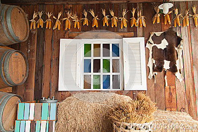 Beautiful wood window with multi color glass