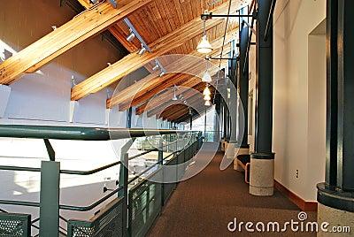 Beautiful wooden building corridor