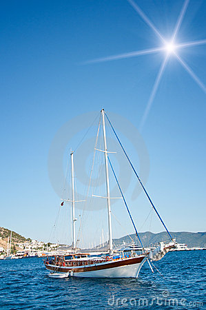 Beautiful yachts at coast Aegean sea.