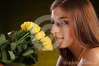 Beautiful yellow rose flowers for young woman