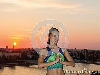 Beautiful Yoga woman in the morning