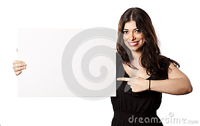 Isolated Happy Woman Pointing at Sign