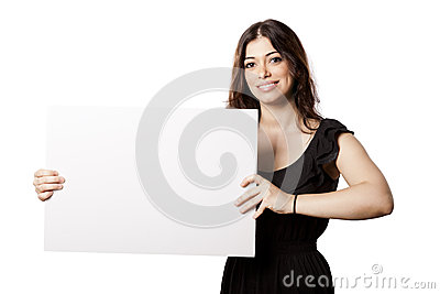 Isolated Happy Woman Holding Sign