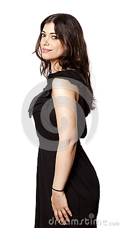 Isolated Smiling Woman Side View
