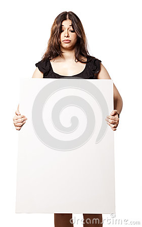 Isolated Woman Holding Sign Looking Down