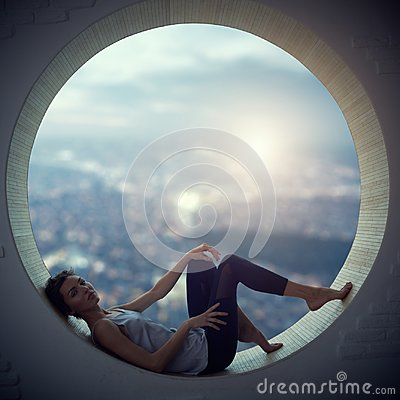 Free Beautiful Young Adult Slim Pretty And Attractive Sensuality Woman In Elegance Fashionable Dress In A Round Window Stock Images - 101322694