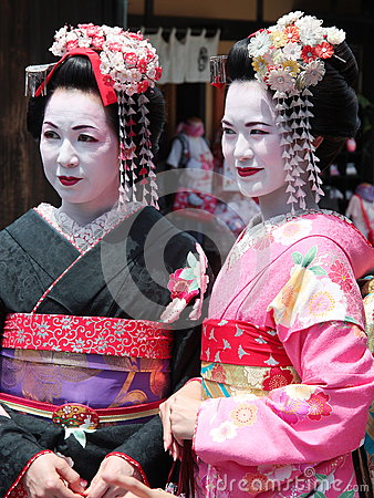 Free Beautiful Young And Mature Geisha Walking In Kyoto Old Town Geisha District Japan Royalty Free Stock Photo - 79731495