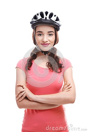 Free Beautiful Young Bicycle Rider With Helmet Stock Images - 110755704