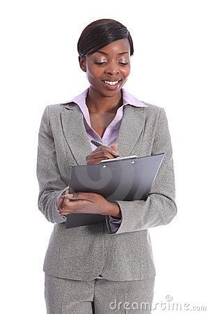 Beautiful young black business woman writing