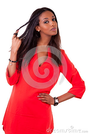 Free Beautiful Young Black Woman In Red Dress Stock Photography - 24867052