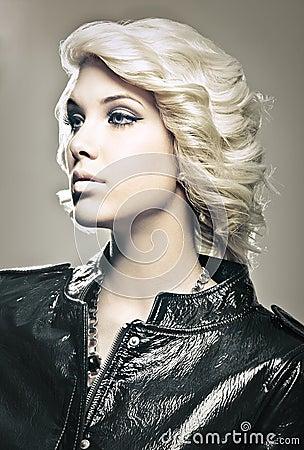 Beautiful young blond fashion model