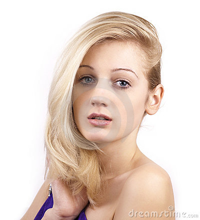 Beautiful young blonde woman close up