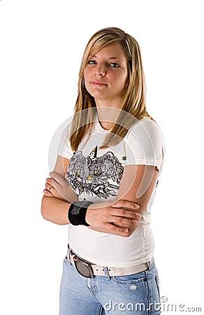 Beautiful young blonde woman portrait