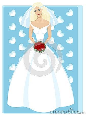 Beautiful young bride in fashion wedding dress