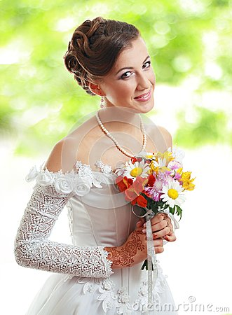 Beautiful young bride outdoor