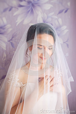 Free Beautiful Young Bride With Wedding Makeup And Hairstyle In Bedroom.Beautiful Bride Portrait With Veil Over Her Face. Closeup Royalty Free Stock Photos - 85789618