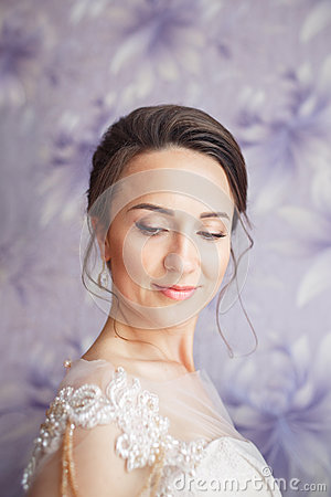 Free Beautiful Young Bride With Wedding Makeup And Hairstyle In Bedroom.Beautiful Bride Portrait With Veil Over Her Face. Closeup Stock Photo - 85790040