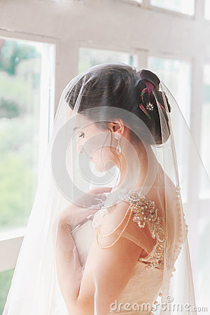 Free Beautiful Young Bride With Wedding Makeup And Hairstyle In Bedroom.Beautiful Bride Portrait With Veil Over Her Face. Closeup Portr Stock Image - 92115741