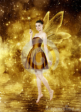 Beautiful Young Brunette Woman As Golden Fairy Royalty