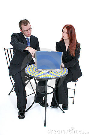 Free Beautiful Young Business Woman And Man At Table With Laptop Stock Image - 199111