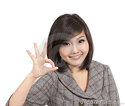 Beautiful young business woman gesturing