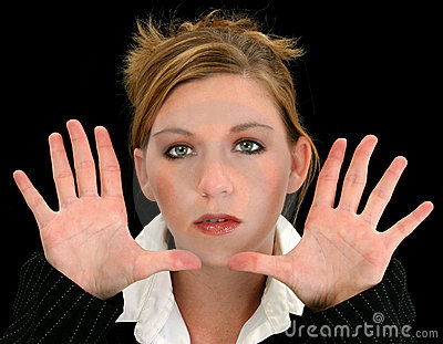 Beautiful Young Business Woman with Hands Towards Camera