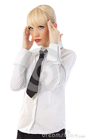 Beautiful young business woman with headache