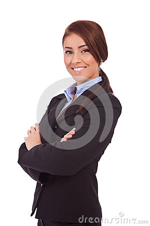 Beautiful young business woman smiling