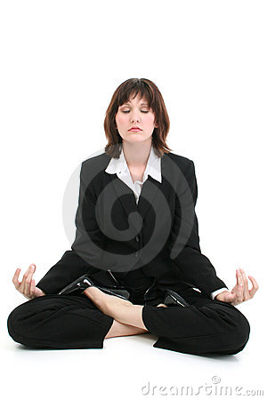 Beautiful Young Business Woman In Suit Meditating