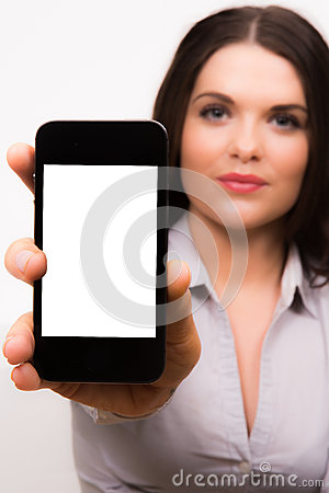 Free Beautiful Young Business Women With Iphone Mobile Device Royalty Free Stock Image - 30120866