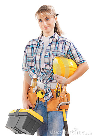 Free Beautiful Young Female Construction Contractor With Tools Isolat Stock Photography - 46080492