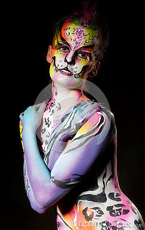 Beautiful Young Female With Full Body Paint Royalty Free Stock Photography - Image: 25977097