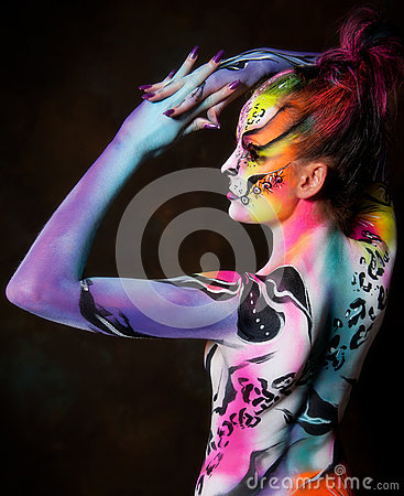 Beautiful Young Female With Full Body Paint Royalty Free Stock Images Image 25977129