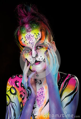 Beautiful young female with full body paint