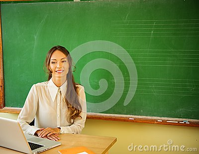Beautiful young female teacher