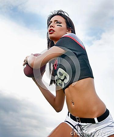 Beautiful young football woman