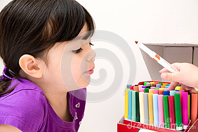 Beautiful Young Girl Admiring Her Friends Markers