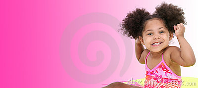 Beautiful Young Girl In Beach Clothes On Pink Background