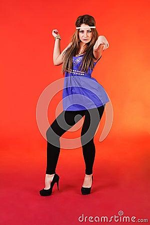 Beautiful young girl in blue dress