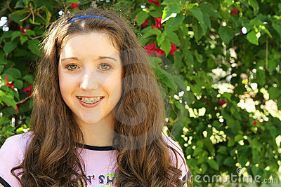 Beautiful young girl with braces