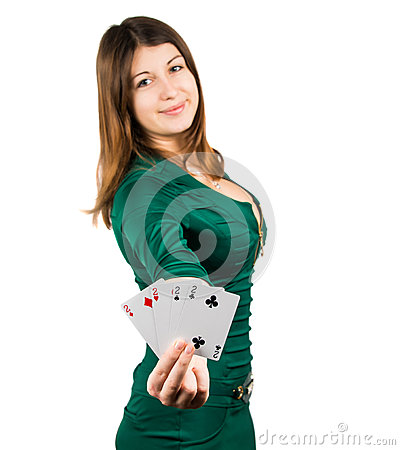 Beautiful young girl in casino