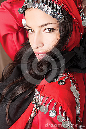 Free Beautiful Young Girl Cover With Red Scarf Stock Photo - 24493860