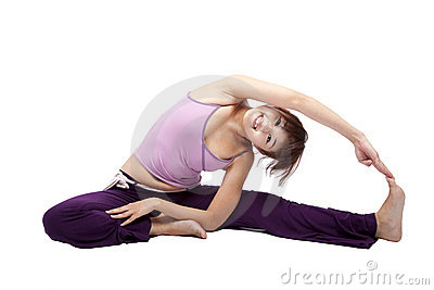 Beautiful young girl doing yoga