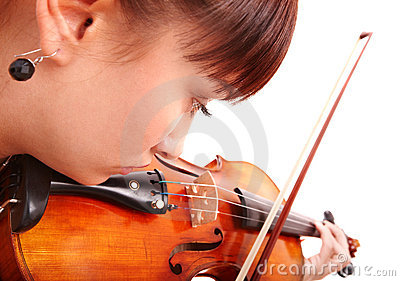 Beautiful young girl with fiddle.