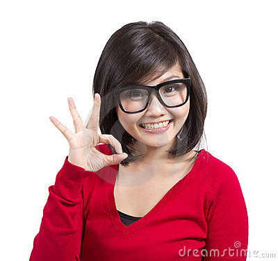 Beautiful young girl gesturing